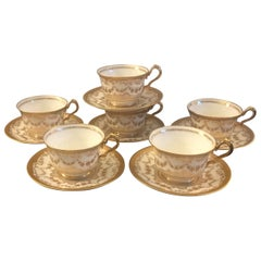 Set of 6 Tiffany Raised Gilt Cups and Saucers, circa 1900