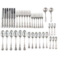 A Set of 6 Victorian Silver Kings Pattern Cutlery, Francis Higgins