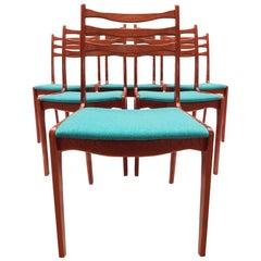 Set of 6 Vintage Danish Teak Ladder Back Chairs by SOS Stolefabrik