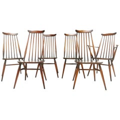 Set of 6 Vintage Ercol Elm and Beech Goldsmith Dining Chairs Midcentury