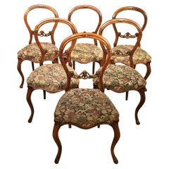 Set of 6 Walnut Victorian Cabriole Leg Antique Dining Chairs
