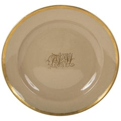 Set of 7 Drabware Plates with Gilt Borders