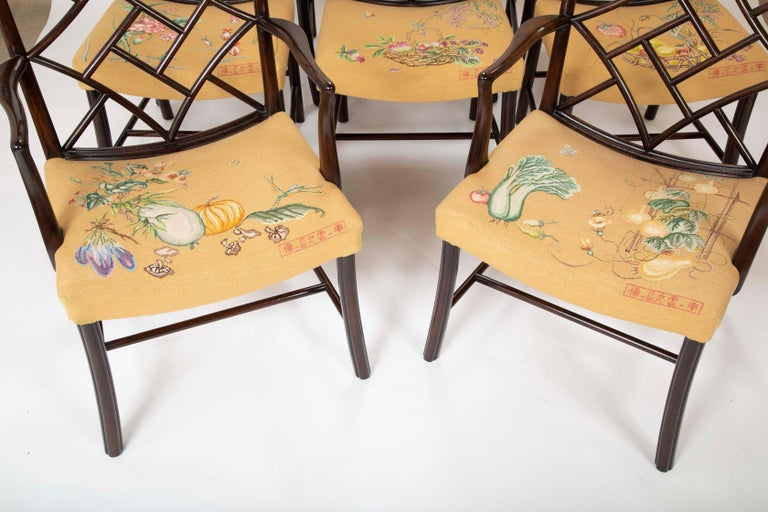 American Set of 8 Chippendale Style Dining Chairs For Sale