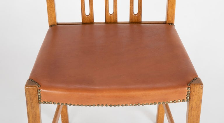 Bleached Set of 8 Dining Chairs with Leather Seats by Hans Wegner & Mikael Laursen For Sale