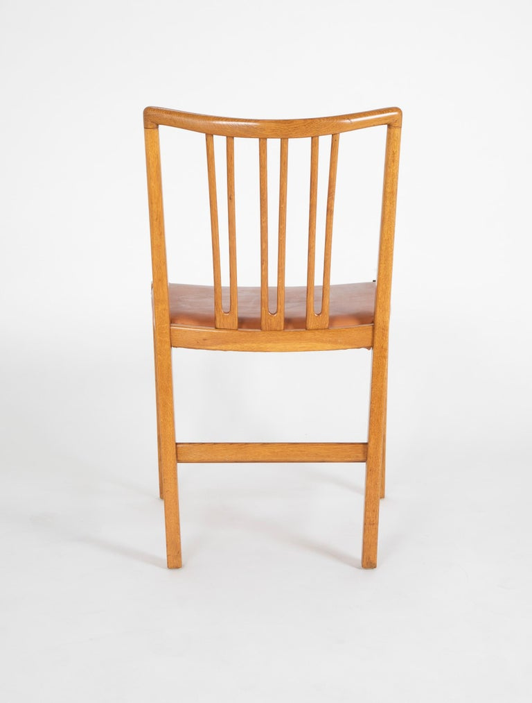 Mahogany Set of 8 Dining Chairs with Leather Seats by Hans Wegner & Mikael Laursen For Sale