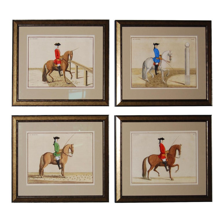 A set of 8 horses from Baron von Eisenbergs L'Art de Monter a Cheval 1747 edition. This work on horsemanship was based on the Spanish riding school and was dedicated to King George ll.