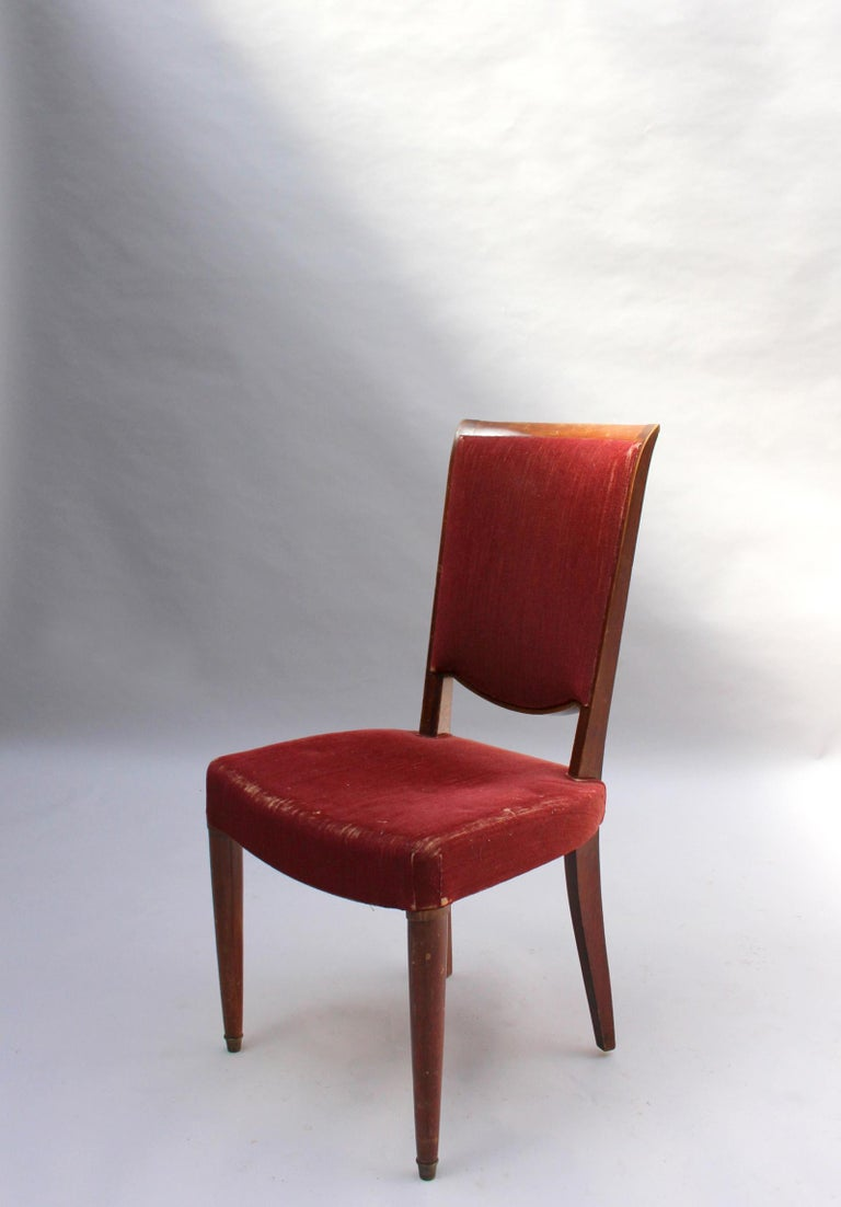 Set of 8 Fine French Art Deco Dining Chairs by Jules Leleu For Sale 5