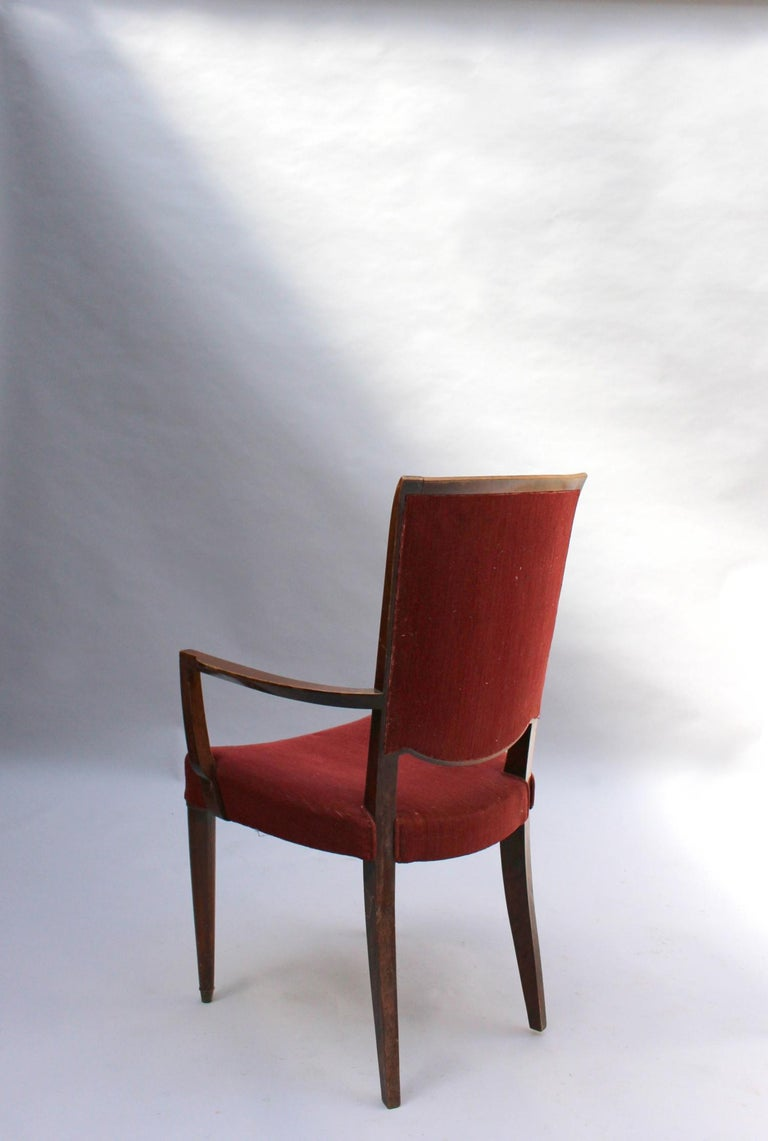 Set of 8 Fine French Art Deco Dining Chairs by Jules Leleu For Sale 6