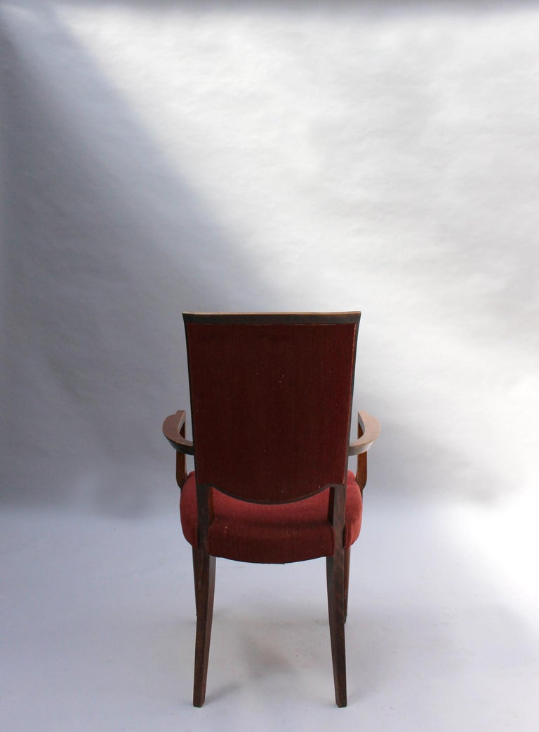 Set of 8 Fine French Art Deco Dining Chairs by Jules Leleu For Sale 8