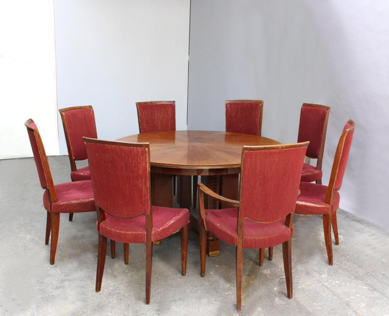 Set of 8 Fine French Art Deco Dining Chairs by Jules Leleu For Sale 12