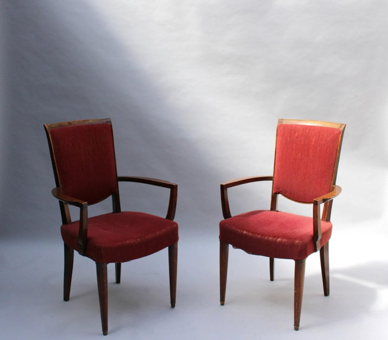 Set of 8 Fine French Art Deco Dining Chairs by Jules Leleu In Good Condition For Sale In Long Island City, NY