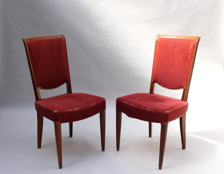 Mid-20th Century Set of 8 Fine French Art Deco Dining Chairs by Jules Leleu For Sale