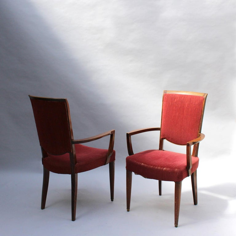 Mahogany Set of 8 Fine French Art Deco Dining Chairs by Jules Leleu For Sale