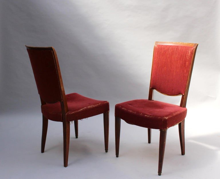 Set of 8 Fine French Art Deco Dining Chairs by Jules Leleu For Sale 1