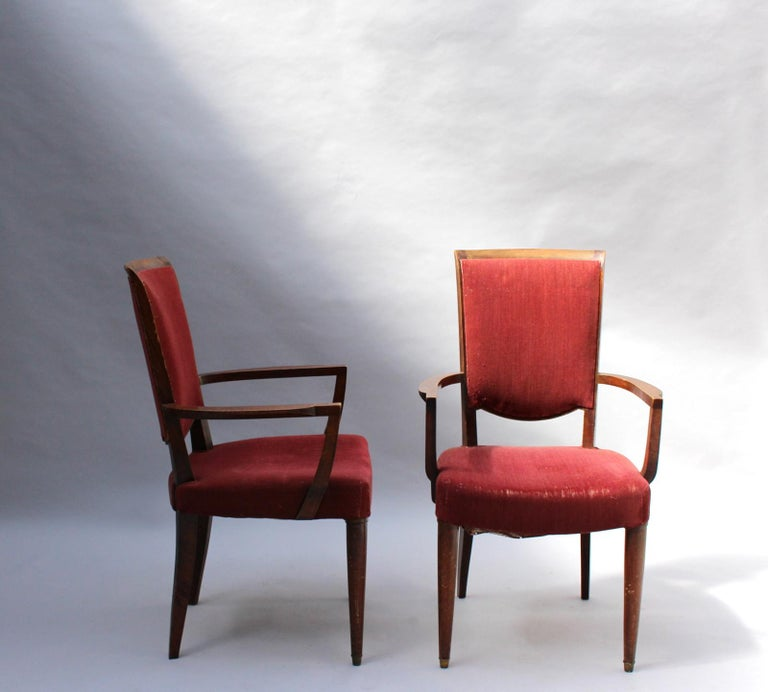 Set of 8 Fine French Art Deco Dining Chairs by Jules Leleu For Sale 2