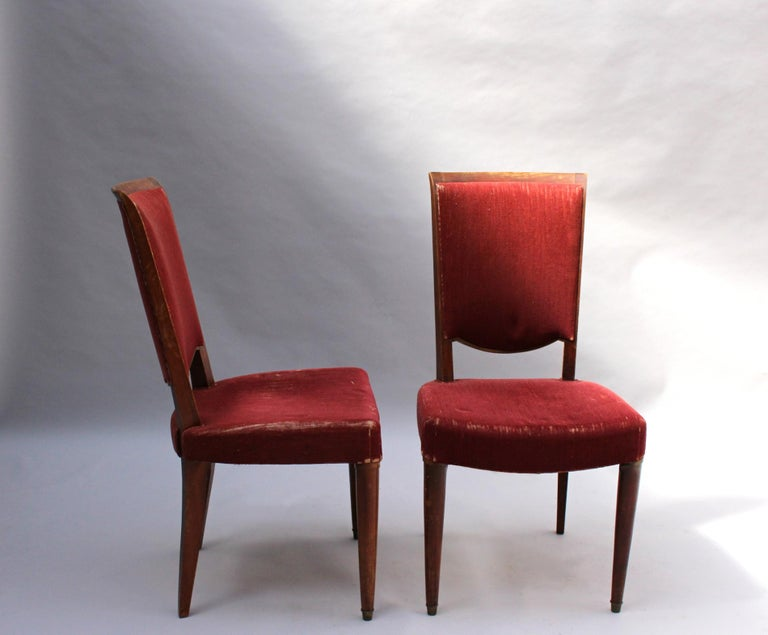 Set of 8 Fine French Art Deco Dining Chairs by Jules Leleu For Sale 3