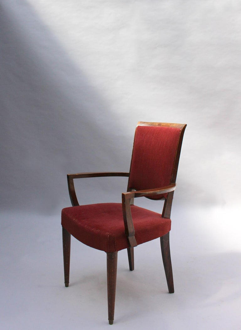 Set of 8 Fine French Art Deco Dining Chairs by Jules Leleu For Sale 4
