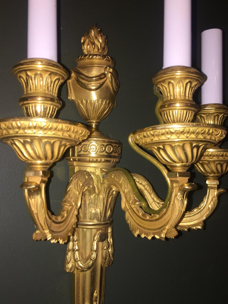 Set of 8 Louis XVI Style Gilt Bronze Three-Arm Wall Sconces For Sale 1