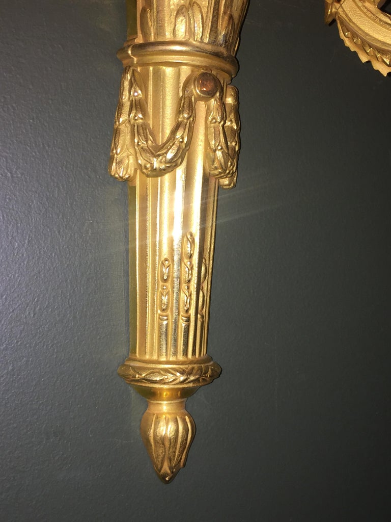 Set of 8 Louis XVI Style Gilt Bronze Three-Arm Wall Sconces For Sale 4