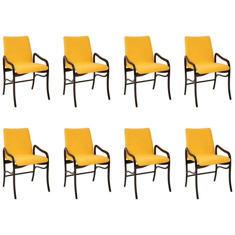 Set of 8 Sculptural Italian Dining Chairs Attributed to Malatesta & Mason For Sale