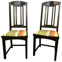 Ebony Pace Modern Collection Dining Chairs. Set of 8 Slat Back.