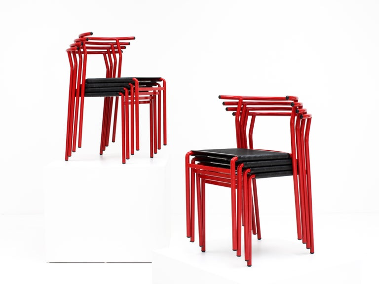 Mid-Century Modern Set of 8 Philippe Starck Cafè Chairs for Baleri Italia, 1984 For Sale