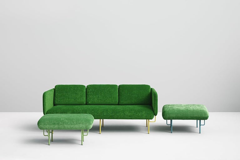 A set of large green Alce sofa and 2 large ottomans by Chris Hardy Dimensions: W200, D88, H82, Seat45 (3 Seaters Sofa), W85, D85, H45 (Ottoman) Materials: Iron structure and MDF board Painted or chromed legs Foam CMHR (high resilience and flame