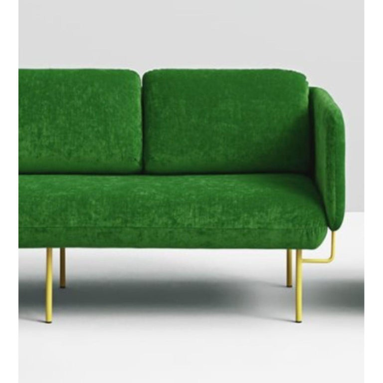 Post-Modern Set of Large Green Alce Sofa and 2 Large Ottomans by Chris Hardy For Sale