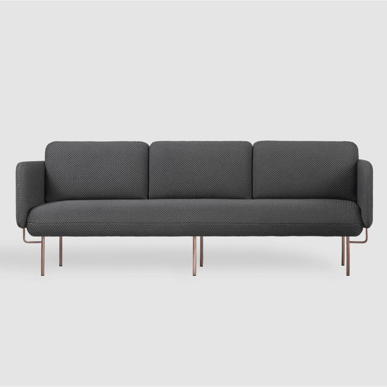 Contemporary Set of Large Green Alce Sofa and 2 Large Ottomans by Chris Hardy For Sale