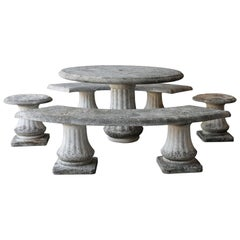 20th Century set of Table, 2 Banks and 2 Stools of French Limestone