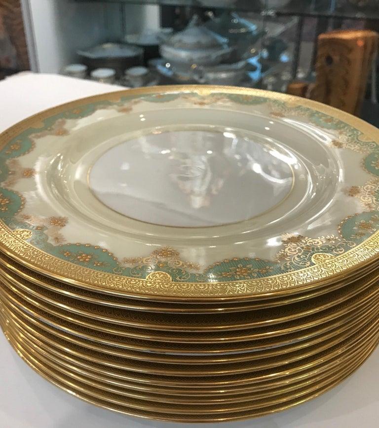 American Set of 12 Antique Raised Gilt Service Dinner Plates For Sale