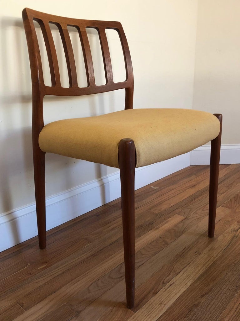 Set of Classic Teak Dining Chairs by Moller For Sale 5
