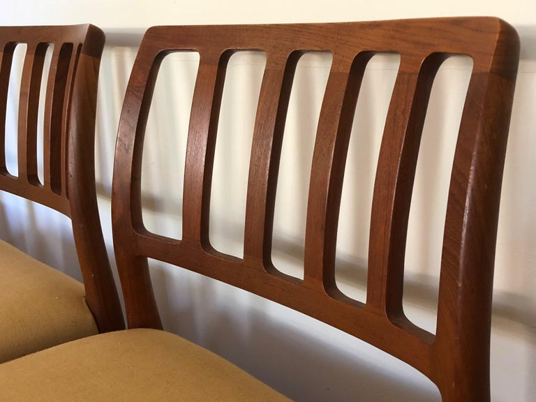 Set of Classic Teak Dining Chairs by Moller In Good Condition For Sale In St.Petersburg, FL