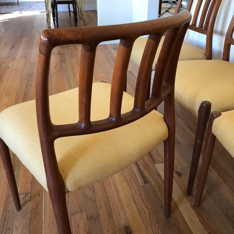 Set of Classic Teak Dining Chairs by Moller For Sale 1