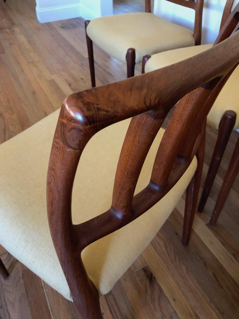 Set of Classic Teak Dining Chairs by Moller For Sale 2