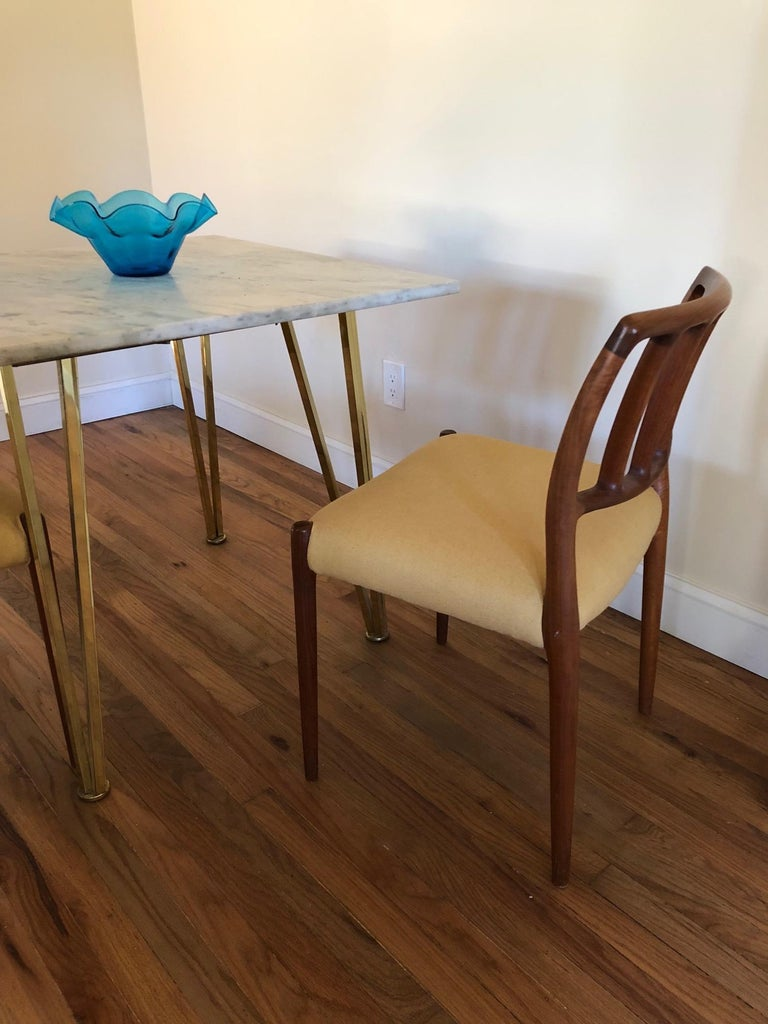 Set of Classic Teak Dining Chairs by Moller For Sale 3