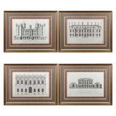 Set of Eight Mid-19th Century Architectural Prints in Mahogany Frames