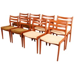 Set of Eight Midcentury Danish Teak Dining Chairs by Dyrlund