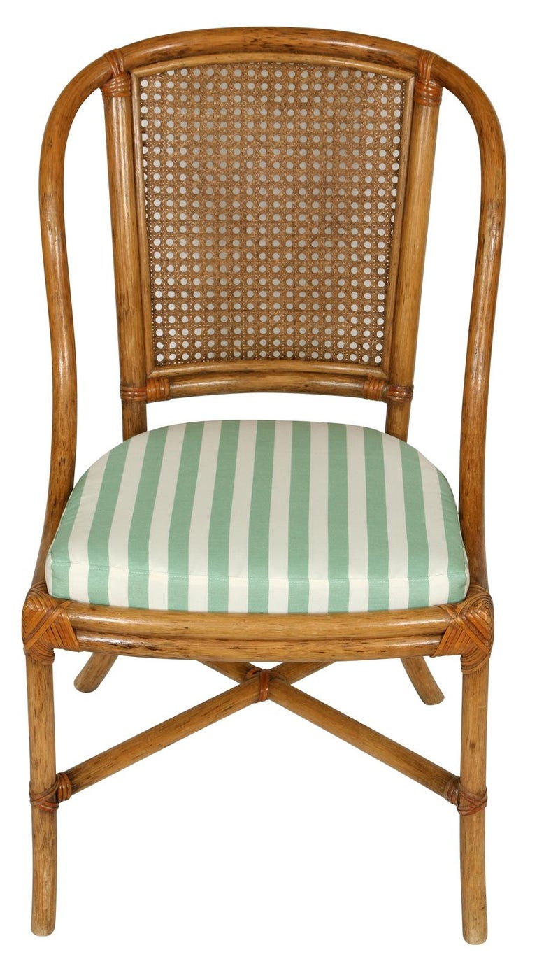 American Set of Eight Rattan Dining Chairs For Sale