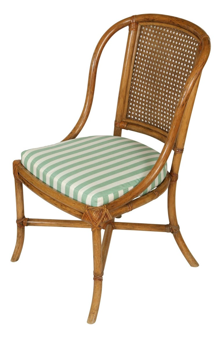 Set of Eight Rattan Dining Chairs In Excellent Condition For Sale In New York, NY