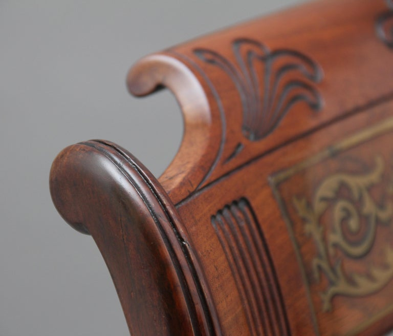 Set of Eight Regency Mahogany and Brass Inlaid Dining Chairs For Sale 6