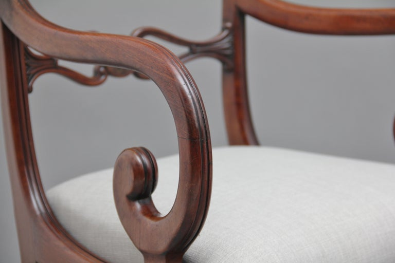 Set of Eight Regency Mahogany and Brass Inlaid Dining Chairs For Sale 9