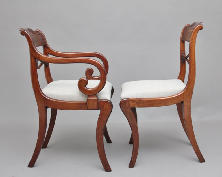 Early 19th Century Set of Eight Regency Mahogany and Brass Inlaid Dining Chairs For Sale