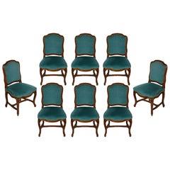Set of Eight Velvet Upholstered Louis XV Dining Chairs