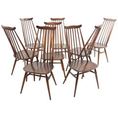 Set of Eight Vintage Ercol Elm & Beech Goldsmith Dining Chairs Midcentury