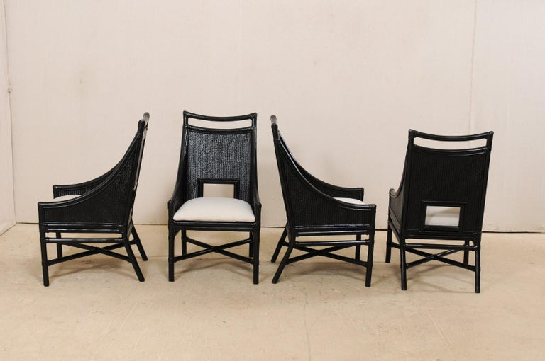 American Set of Eight Vintage Painted Bamboo and Cane Chairs with Newly Upholstered Seats For Sale