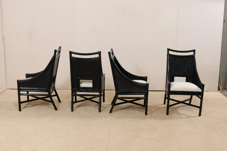 20th Century Set of Eight Vintage Painted Bamboo and Cane Chairs with Newly Upholstered Seats For Sale