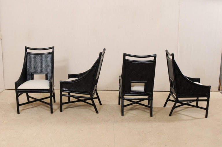 Set of Eight Vintage Painted Bamboo and Cane Chairs with Newly Upholstered Seats For Sale 1