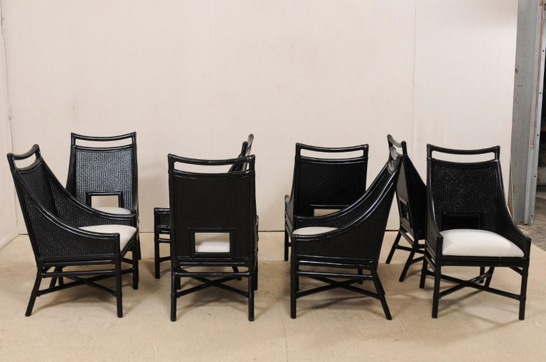 Set of Eight Vintage Painted Bamboo and Cane Chairs with Newly Upholstered Seats For Sale 2