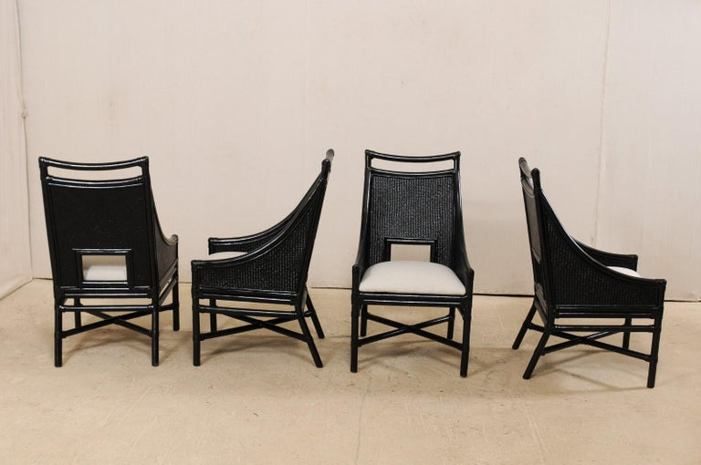 Set of Eight Vintage Painted Bamboo and Cane Chairs with Newly Upholstered Seats For Sale 3